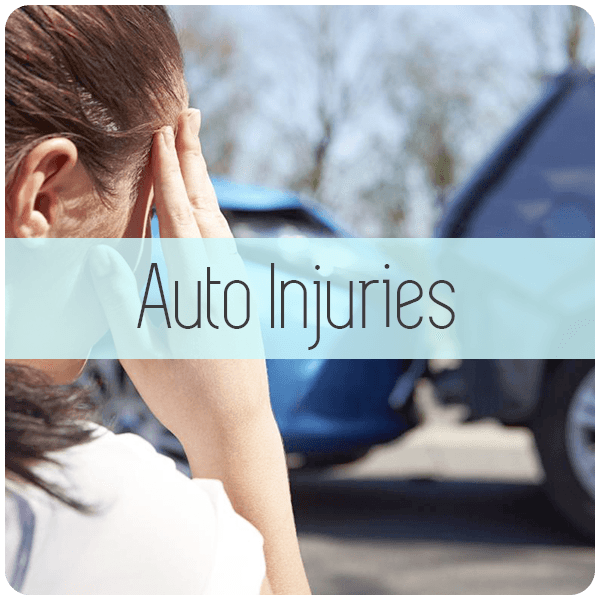 lady holding head auto injury accident