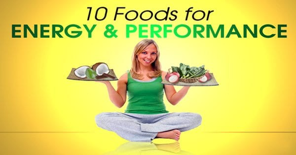 blog picture of lady sitting holding various dishes in both hands with the words ten foods for energy and performance